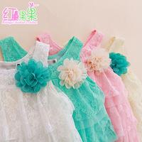 Baby girl summer lace dresses with chiffon flower party dress Mesh children sundress 2015 hot sale 4 PCS