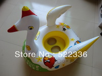 Free shipping 2013 new design lovely goose inflatable baby swim ring with baby seat