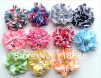 "Free Shipping!50pcs/lot 2""chiffon pearl diamond fower ,Handmade chiffon Flowers,Fabric Flower,Hair Acessories AngelBaby"