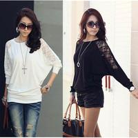 2013 Women Ladies Loose Batwing Dolman Lace Long Sleeve Casual Top T Shirt M XXL
