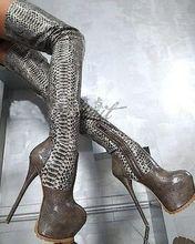 snakeskin high heel women long boots over the knee  women's winter boots big size 42  43  (China (Mainland))