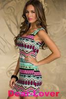 woman dress spring 2014 Fancy Form-fitting Stretch Mini Dress with Ethnic print 2013 New Sexy Dress One-piece Dress
