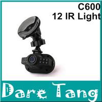 Free Shipping!2014 Newest Mini Size HD 1080*720P 12 IR LED Car Vehicle CAM Video Dash Camera C600 Russian Car DVRT(H28B)