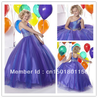 New Arrival Sexy Beaded  cute  Ball Gown One shoulder Flower Girl children's formal Dress A044