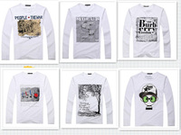 Free shipping in the fall and winter of 2013 male basic t shirt long sleeve T-shirt gulps half pullover