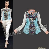 Free Shipping 1PC Fashion Elegant Women's Colorful Print Long Sleeve Chiffon European Style Top Shirt Blouse S/M/L 652882