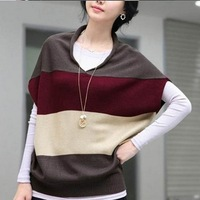 2014 New Brand V-neck Vests Sweaters For Women/Fashion Striped Printed Women Sweaters Tops/Casual Women Pullovers Vests