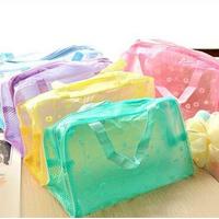New Brand 2014 Floral Printed Crystal Makeup Bags Cheap Mini Travelling Bath Cosmetic Bag 1PCS
