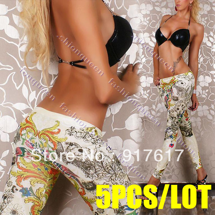 5PCS/LOT New Fashion Women Vintage Printed Pants Tattoo Print Jeans Look Skinny Leggings 17508(China (Mainland))