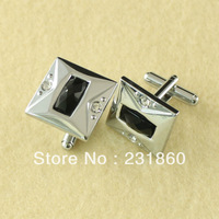 1Pair Square Mens Stainless Steel Tile Shirt Cufflinks Silver Craft Groom Favour