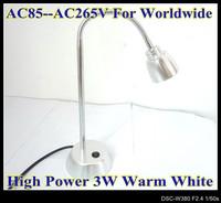 High Power 3W LED Desk light Warm White flexible head reading light Light 3Pin Plug LD17