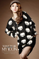 2013 New Women fashion skull print long-sleeved dress with back button Woman Casual black club skull dresses with long sleeves