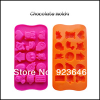 2014 new soft silicone mold ice chocolate soap mold 15 even cartoon shape molds cake decorating tools bakeware free shipping