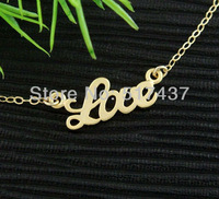 NEW FASHION!!! 6PCS Free shipping Letters Necklace Love charm Gold Necklace,Christmas gift
