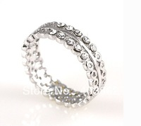 Lovers ring. Size:(6-9).High quality alloy plating 18 KGP white gold ring, fashion artificial diamond ring. Free shipping.