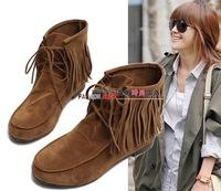 2014 tassel boots tassel boots elevator flat heel short boots single boots wear-resistant cow muscle outsole size 35-39 B005