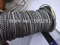 50yard/Roll White&Black Real Hiderope 3mm Braided Genuine leather Cord