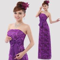 2015 winter new fashion women  bride lace formal dress quality lace slim waist tube top long blue evening dresses