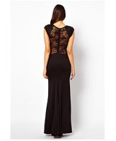 Free Shipping 2014 HOT SALE Women Slim Summer Fashion Party Star Short Sleeve Sexy Night Club Black Long Novelty Dress