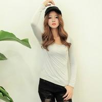 2013 women's autumn modal basic t-shirt korean solid color slim long-sleeve t shirt women free shipping