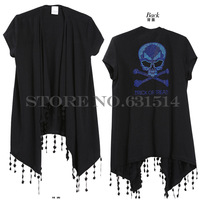 New ETY 2014 Crotch Cutout, lace flower Tassel skull diamonds tassel short-sleeve women's cardigan sweater outerwear