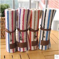 LZ Fashion shutter pencil case canvas pen curtain student pencil stationery box fresh cloth vintage strip roll bag 24*19cm