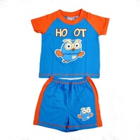 Children  summer   2piece suits   Boy owl  short sleeve tshirt with shorts 2pcs set  size 1 2 3 4  5t