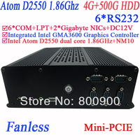 cheap small computer with 6 COM PXE fanless 2 RTL8111E Gigabyte Nic Intel D2550 dual core GMA36001.86Ghz NM10 4G RAM 500G HDD
