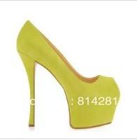 16cm high heels women platform open toe suede leather pumps