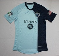 new Free Shipping top thailand quality 2014 13 14 Sporting Kansas City home Soccer  Jersey  Soccer Shirt.