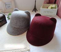 New 2014 Autumn Women's Devil Hat Punk Fashion Unique Lovely Cute Kitty Cat Ears hat Woolen Derby Bowler Hat Cap