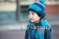 Two-piece fashion warm children's hat scarf, Spell color children's hat,cute baby hat + scarf set of cap Free Shipping