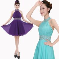 Sex Pink married plus size halter evening dress short design slim party dress 2015 new arrival