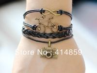 226 Leather bracelet Infinity bike camera charms on wax cords Fashion jewelry Friendship bracelet Birthday gift For teen girl