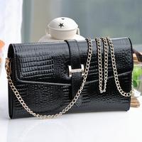 New European design black color women messenger Bag,fashion crocodile  leather wallet for female small shoulder chain Bag