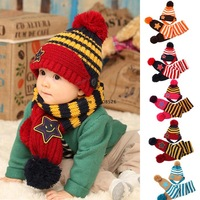 2013 new fashion winter five star children Wool beanie scarf hat sets baby pocket hats boy earflap girl skullcap 18273