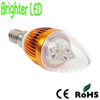 Free Shipping 10pcs/lot High Power 3W LED Candle Light Bulb E14 E27 90-100lm/w AC85-265V White/Warm White