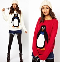 2013 autumn new cute cartoon penguin pattern long sleeve Women's pullover Red,White Size M-L #1485