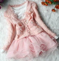 New 2013 baby girls beige/pink clothing sets kids lace flower ruffle sets girls cute layered tutu dress suits free shipping