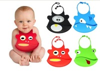 2pcs/Lot   Cartoon Skin Baby Bibs Eat Solid Convenience Health Silicone Waterproof Bib Free shipping & wholesale