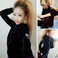 fashion rhinestones 2014 zipper with a hood sweatshirt trousers velvet set sport suit women casual dress