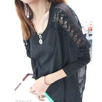 new 2013autumn lace crotch back chiffon patchwork loose batwing sleeve knitted tee chiffon lace women's t-shirts brand