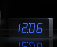 Blue LED wooden wood desk digital alarm clock watch display/Temperature thermometer voice activated  210*90*45mm  /bigest number