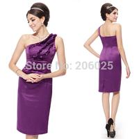 HE03338 Special Discount Ever Pretty One Shoulder Satin Purple Flower Short Cocktail Dress