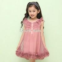 2014 New design Girl's Sleeveless Chiffon girl wearing Flowers Hem Lace ruffles Princess Tutu Dress Casual Or Party Wear 18157