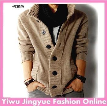 2013 brand men's sweater thick cardigans wool cotton coat black,blue,khaki,gray big size Free Shipping