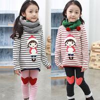 2014 New  Autumn Winter Christmas Cartoon Girls Stripe Long Sleeve t Shirt Girls' Leggings Set Two Piece Love Clothing set