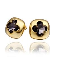 Korean Girl's Fashion 18K Gold Filled Earrings Stud Black Zircon Cute Jewelry For Cheap