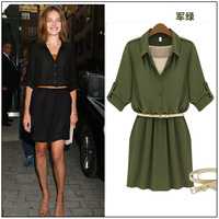 Autumn fashion high quality fashion belt slim one-piece dress(Send Belt) Free shipping