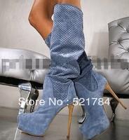 JILULI High-end custom GL USES round hole fashion high-heeled boots shoes high heels size 4 thigh high boots